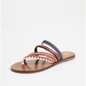 💯% authentic Tory Burch Patos Embroidered Sandals